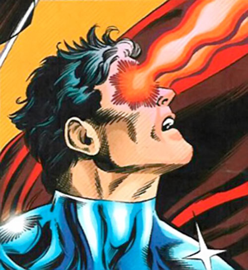 Superman One Million (DC Comics) face closeup with heat vision