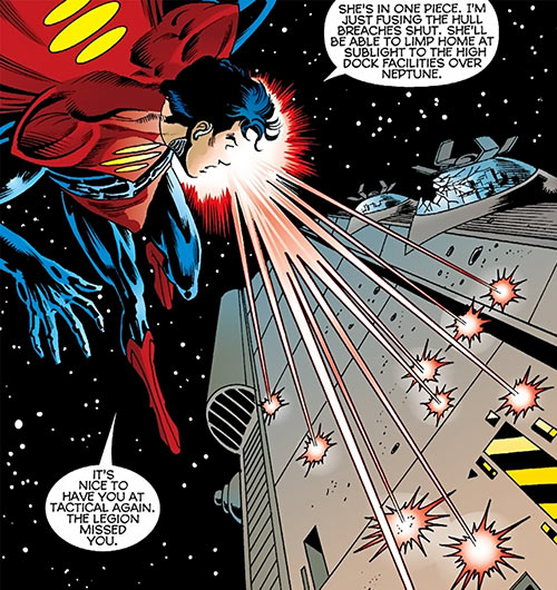 Superman One Million (DC Comics) using his heat vision at superspeed