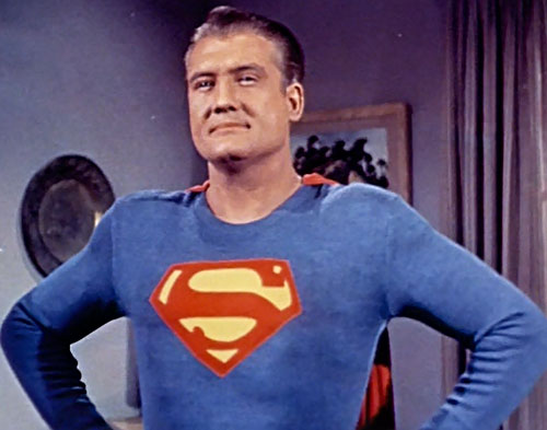 Superman (George Reeves in Adventures of Superman) classic pose in color