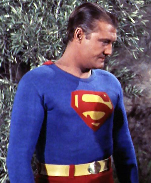 Superman (George Reeves in Adventures of Superman) in a forest