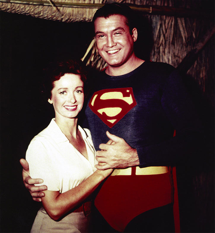 George reeves as Superman and Noel Neill as Lois lane