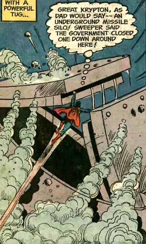 Superman Jr. (DC Comics Super-Sons) forces open a missile silo