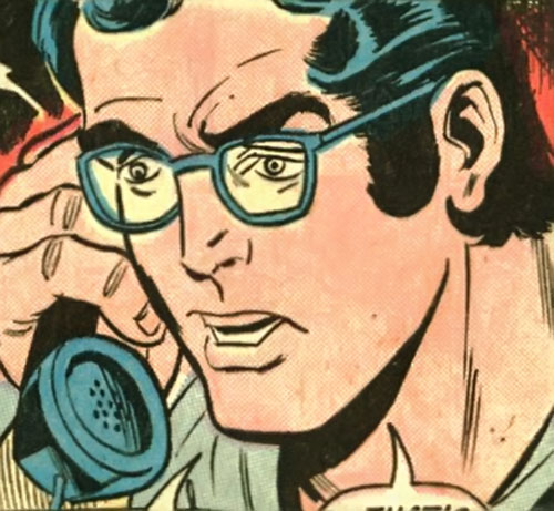 Superman Jr. (DC Comics Super-Sons) with glasses on the phone
