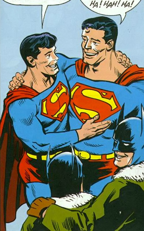 Superman Jr. (DC Comics Super-Sons) with his dad