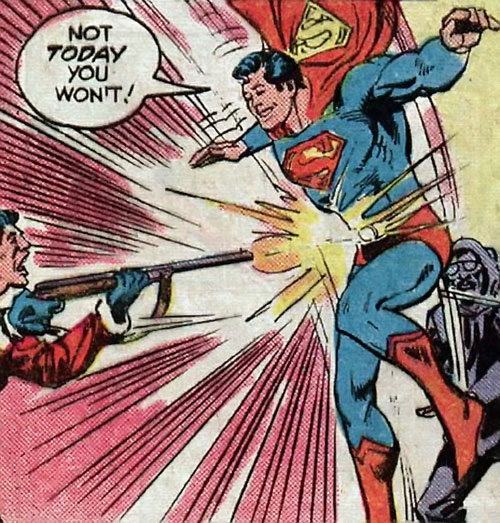 Superman Jr. (DC Comics Super-Sons) body-blocks a shotgun blast