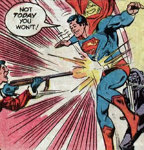 Superman Jr. (DC Comics Super-Sons) body-blocks a shotgun blast