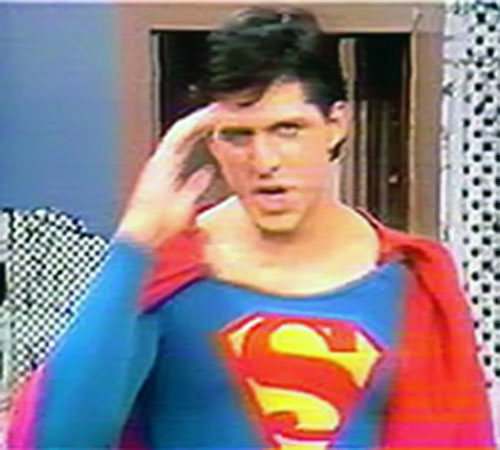 Superman (David Wilson in Superman The Musical) saluting