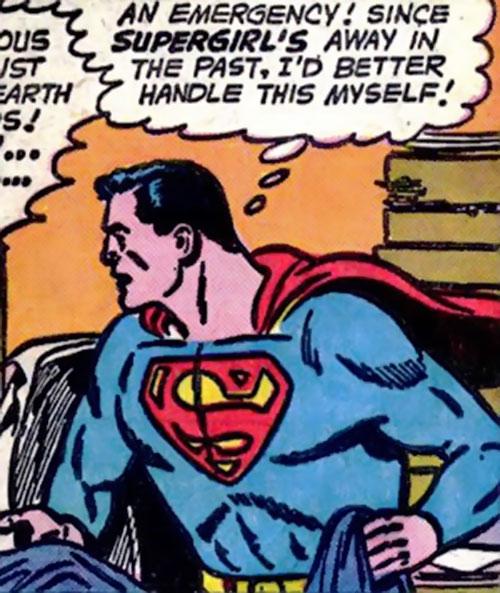 Pre-Crisis Superman (DC Comics) reacting to an emergency