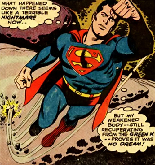 Pre-Crisis Superman (DC Comics) flying first-first in space