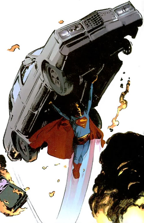 Superman (DC Comics) (Busiek Secret Identity version) flying a car
