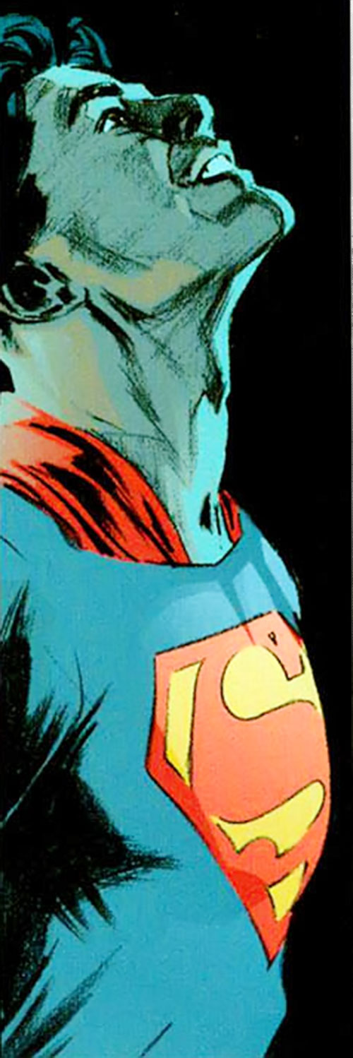 Superman (DC Comics) (Busiek Secret Identity version) in costume flying in the night
