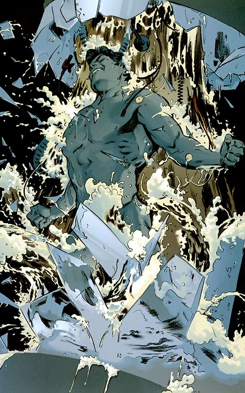 Superman (DC Comics) (Busiek Secret Identity version) bursting from a liquid-filled prison tube