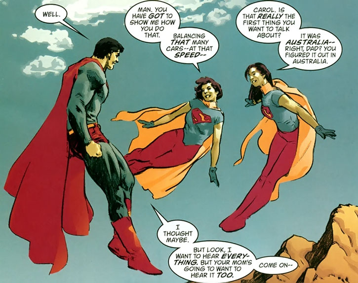 Superman with his daughters Carol and Jane