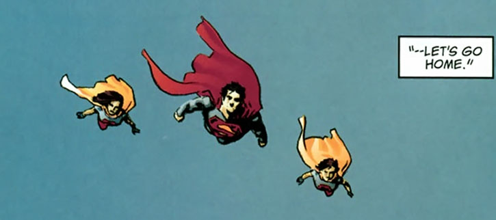 Superman flying along with his daughters