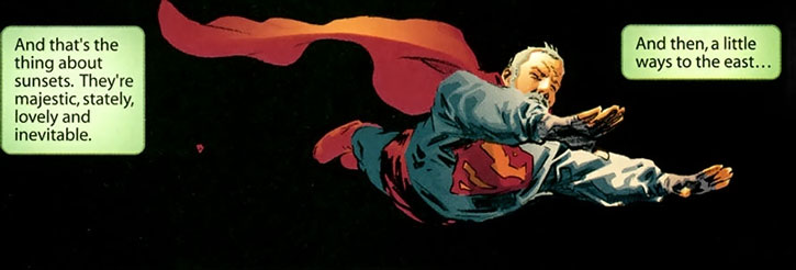 An aged Superman flies in the night