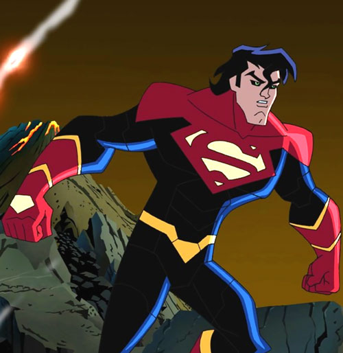 Superman X (Legion of Super-Heroes animated series) and a volcano