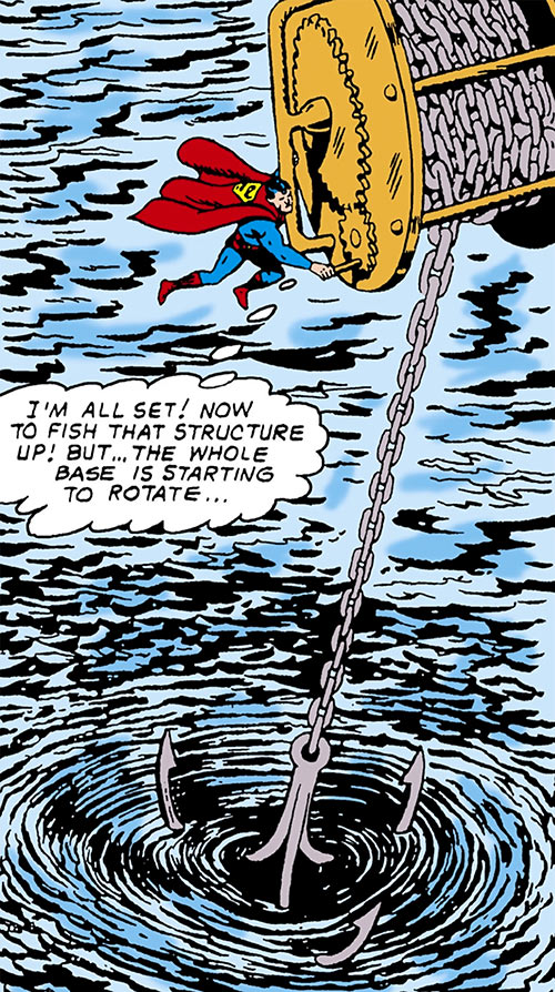Superman of 2465 / 2965 (DC Comics) working a giant winch over water