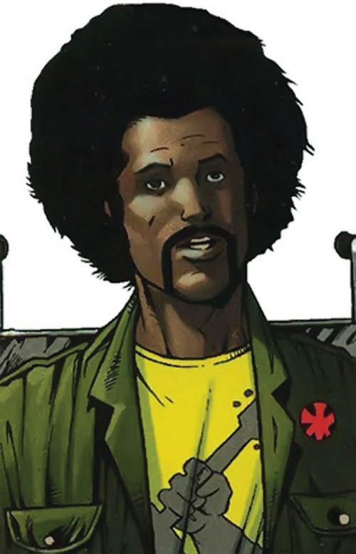Supernaut of the Order (Marvel Comics) with an afro in a wheelchair