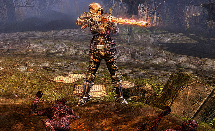 Grim Dawn - Svet with armour and burning gun - Banner - Aiming