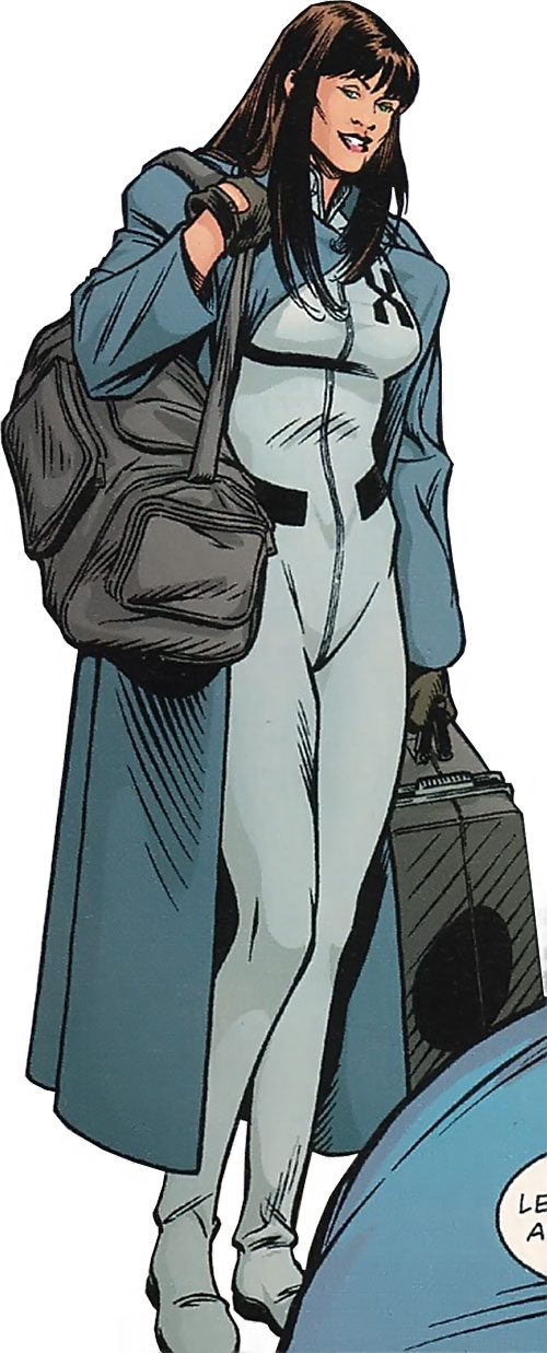 Svetlana X (Tom Strong ally) with an overcoat and travel bags