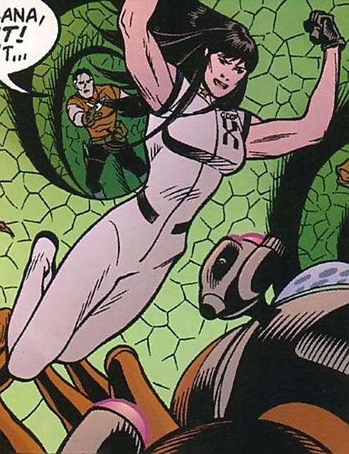 Svetlana X (Tom Strong ally) leaps into the fray