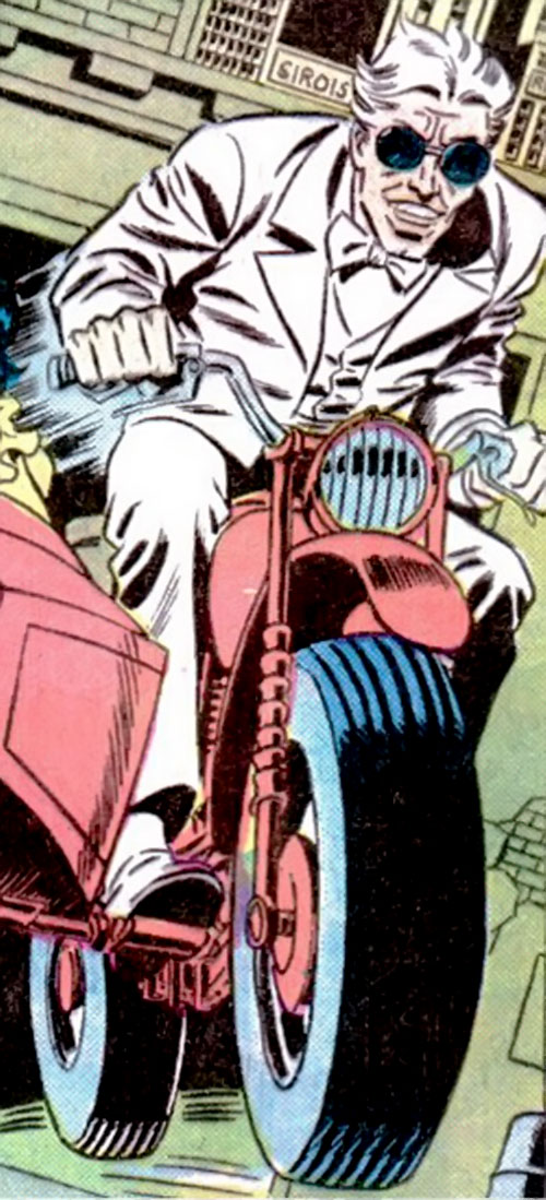 The Swiss (Richard Dragon enemy) (DC Comics) flees on a motorbike