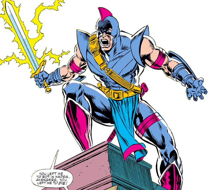 The Swordsman (Philip Jarvert) standing on a ledge with his weapon drawn