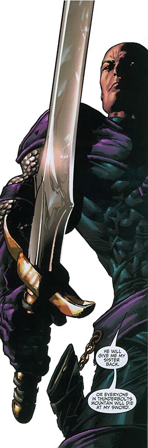 Swordsman of the Thunderbolts (Andreas Strucker) (Marvel Comics) and his longsword