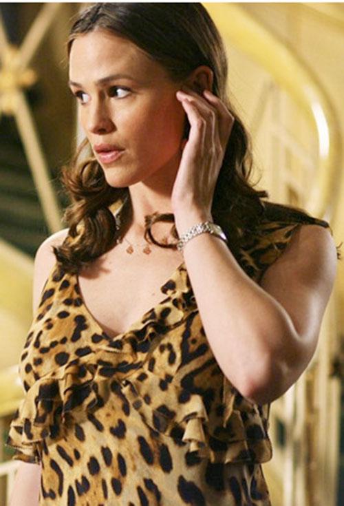 Sydney Bristow (Jennifer Garner in Alias) in a leopard print dress