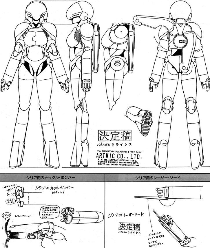 Sylia Stingray hardsuit design model sheet