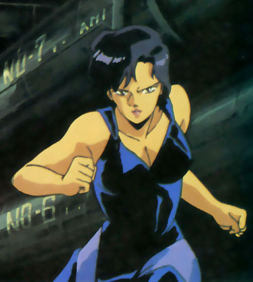 Sylia Stingray (Bubblegum Crisis) in a dark blue top