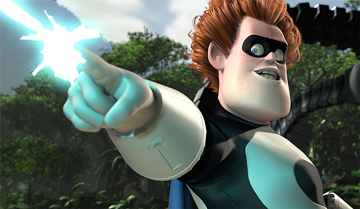 Syndrome shoots a beam from his gauntlet