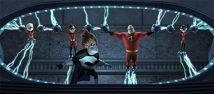 Syndrome holds the Incredibles captive