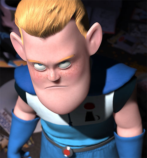 Syndrome (Pixar The Incredibles) as a child, dejected