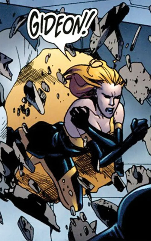 Synergy (Dynamo 5 enemy) (Image Comics) charging through a wall
