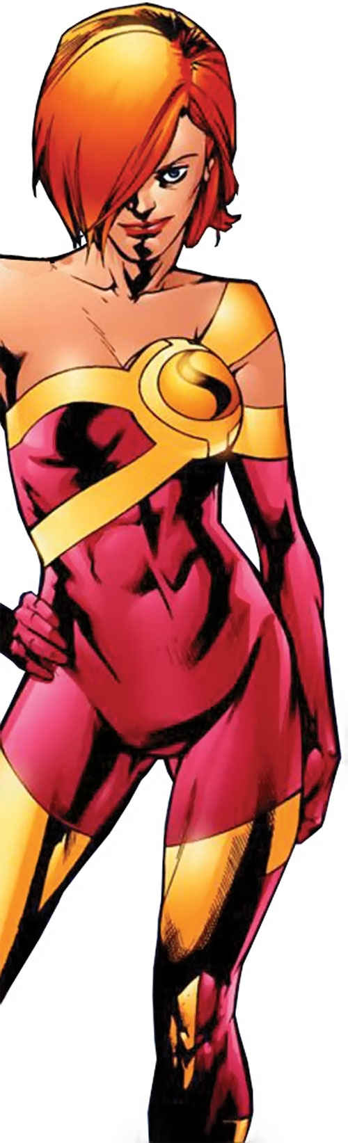Synergy (Dynamo 5 enemy) (Image Comics) in a light red costume
