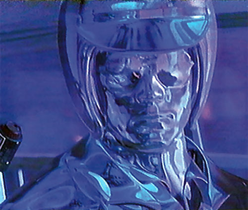 T-1000 Terminator (Robert Patrick) turning into a helicopter pilot