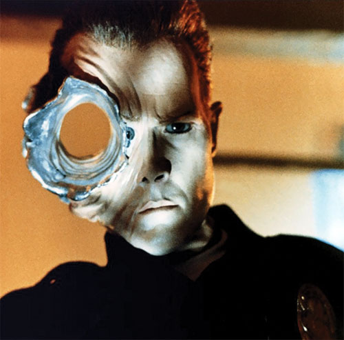 T-1000 Terminator (Robert Patrick) with a large impact in its head