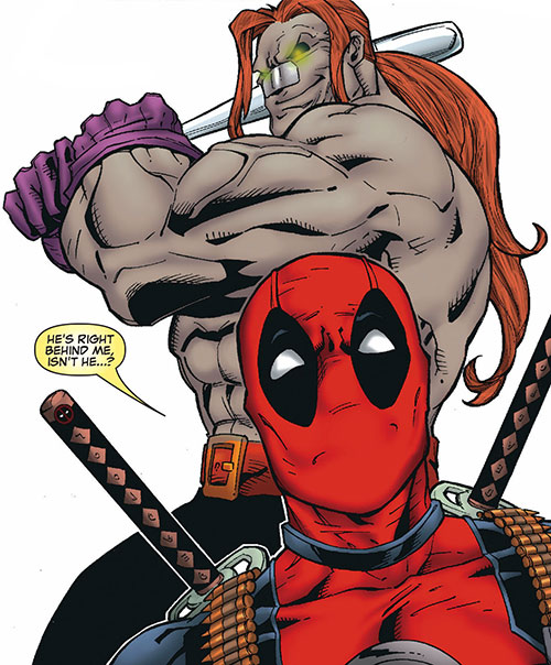 T-Ray (Deadpool enemy) (Marvel Comics) about to hit Deadpool with a bat