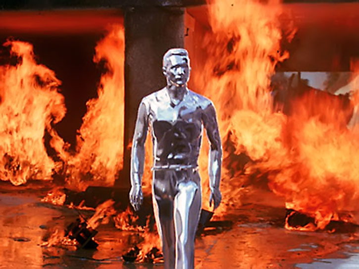 The T-1000 walks away from a major crash and fire