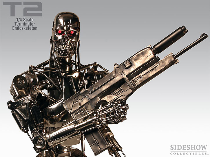 T-800 Terminator statuette with plasma rifle