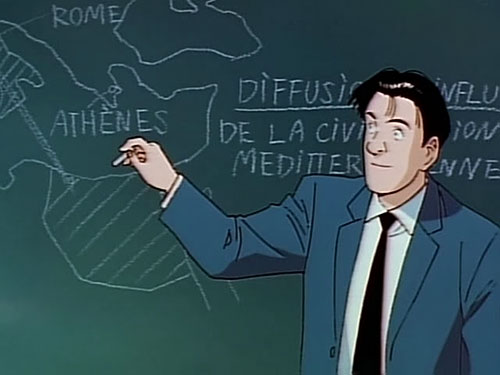 Taichi Hiraga Master Keaton drawing a map of Greece