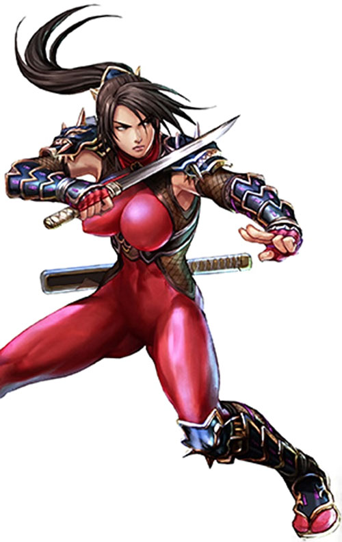 Taki (Soul Calibur) on guard in a light red suit