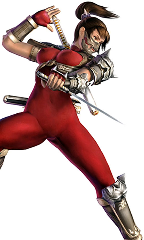Taki (Soul Calibur) in action in a red suit