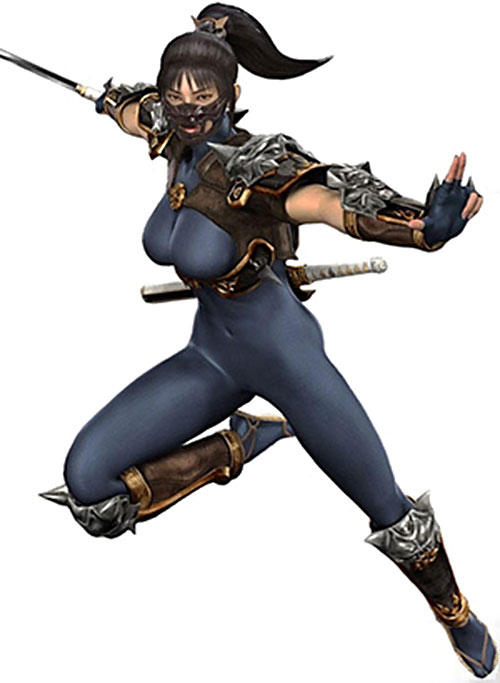 Taki (Soul Calibur) ready to strike in a blue suit
