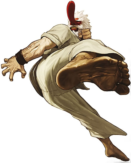 Mister Karate (Takuma Sakazaki) (King of Fighters) doing a roundhouse flying kick