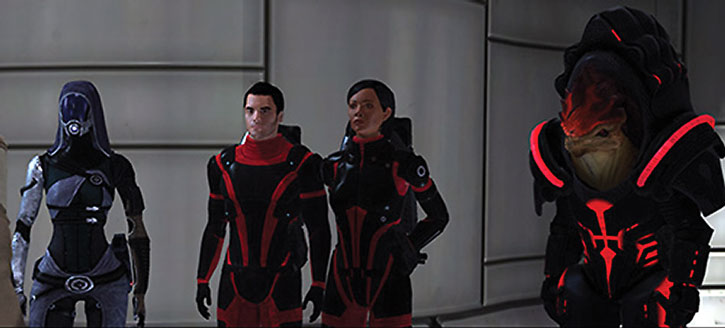 Tali nar Rayya with Kaydan, Shepard and Wrex