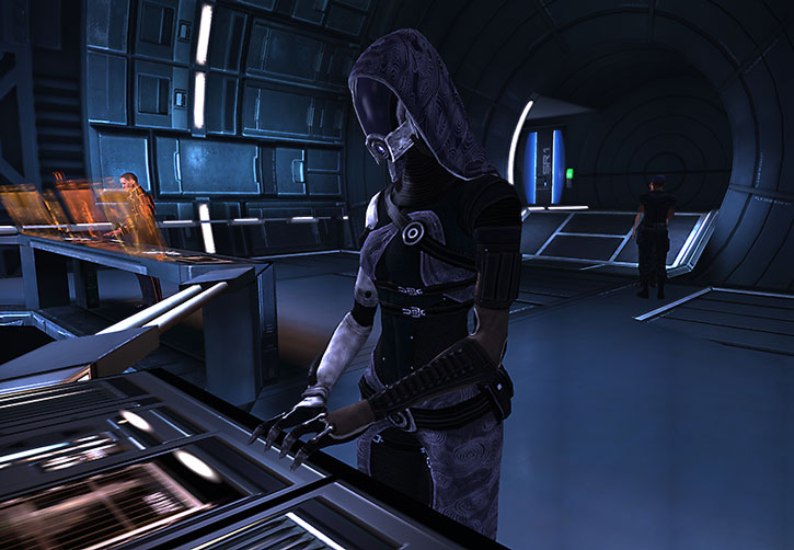 Tali nar Rayya at her engineering station on the Normandy