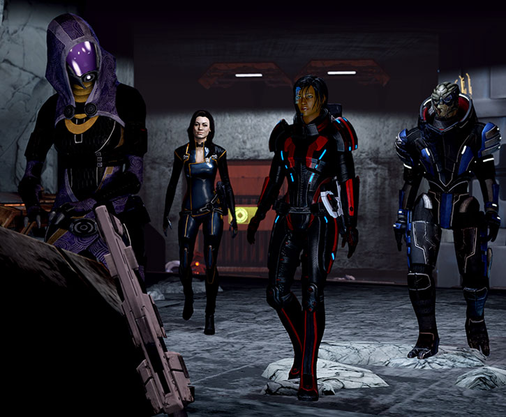 Tali vas Normandy rescued by Commander Shepard, Miranda Lawson and Garrus Vakarian