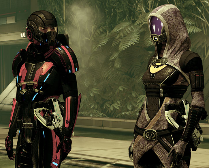 Tali vas Normandy and Commander Shepard on a Quarian ship